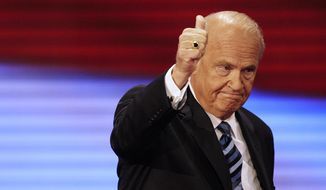 In this Sept. 2, 2008, photo, former Sen. Fred Thompson, R-Tenn., gives thumbs up after speaking at the Republican National Convention in St. Paul, Minn. Thompson died, Sunday, Nov. 1, 2015, in Nashville, Tenn., after a recurrence of lymphoma, his family said in a statement. He was 73. (AP Photo/Ron Edmonds, File)