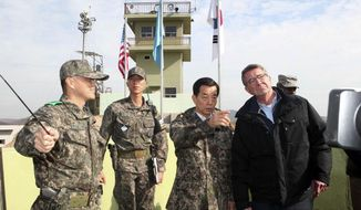 U.S. Defense Secretary Ash Carter, right, and South Korean Defense Minister Han Min Koo, second from right, look towards North Korea at an observation post near the border village of Panmunjom, which has separated the two Koreas since the Korean War, in Paju, South Korea, Sunday, Nov. 1, 2015. Carter called on North Korea to shrink and eventually eliminate its nuclear weapons program, while acknowledging during a visit Sunday to the Demilitarized Zone dividing the two Koreas that prospects for reconciling with the defiant North are dim. (Korea Pool Photo via AP) KOREA OUT
