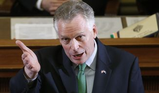 Virginia Gov. Terry McAuliffe said recently that electing Democrats to the state Senate will help him advance his agenda on items such as Medicaid expansion, gun control and education spending even with a Republican-controlled House. (Associated Press)