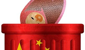 Trashing Chinese Babies Illustration by Greg Groesch/The Washington Times