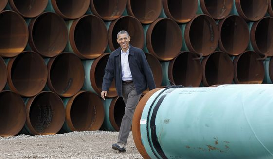 President Obama arrives at the TransCanada Stillwater Pipe Yard in Cushing, Okla. on March 22, 2012. (Associated Press)