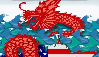 Illustration on U.S. responses to Chinese expansion in the South China Sea by Alexander Hunter/The Washington Times