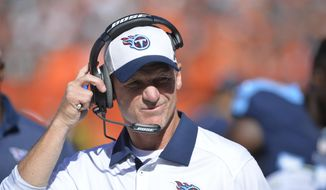 FILE - In this Sept. 20, 2015, file photo, Tennessee Titans head coach Ken Whisenhunt reacts in the fourth quarter of an NFL football game against the Cleveland Browns, in Cleveland. The Titans fired Whisenhunt Tuesday, Nov. 3, 2015. (AP Photo/David Richard, File)