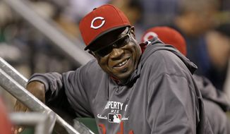 Cincinnati Reds manager Dusty Baker (12) stands in the dugout during a baseball game against the Pittsburgh Pirates in Pittsburgh Saturday, Sept. 21, 2013. The Pirates won 4-2. (AP Photo/Gene J. Puskar)