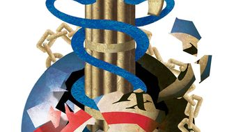 Illustration on the emergence of a U.S. Federal single-payer health system by Alexander Hunter/The Washington Times