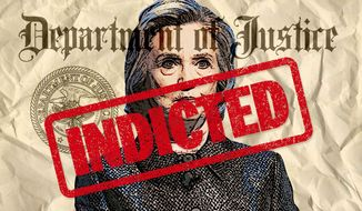 Illustration on indicting Hillary Clinton by Greg Groesch/The Washington Times