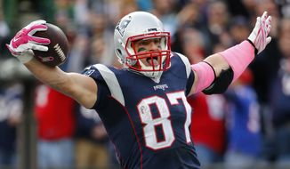 New England Patriots tight end Rob Gronkowski celebrates a touchdown against the New York Jets during a NFL football game at Gillette Stadium in Foxborough, Mass. Sunday, Oct. 25, 2015. (Winslow Townson/AP Images for Panini)