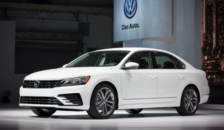 The Volkswagen Passat is displayed during a reveal event at the Brooklyn Navy Yard in New York on Sept. 21, 2015. (Associated Press) **FILE**