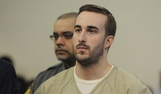 Kyle Navin is arraigned in Bridgeport Superior Court, in Bridgeport, Conn. Tuesday, Nov. 3, 2015. Navin was charged with two counts of murder in the deaths of his parents, Jeanette and Jeffrey Navin, who planned to cut him out of their will. Jeanette and Jeffrey Navin of Easton went missing in August. Their remains were found Oct. 29 outside a vacant house in neighboring Weston. (Ned Gerard/Hearst Connecticut Media via AP, Pool) ** FILE **
