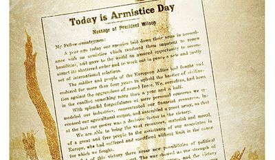 Illustration on the first Armistice Day by Alexander Hunter/The Washington Times