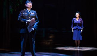 "This image provided by The O & M Company shows actress Lea Salonga, right, with George Takei during a performance of ""Allegiance,"" in New York. (Matthew Murphy/The O & M Company via AP)"