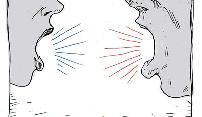 Illustration on the contentious nature of political debate by Mark Weber/Tribune Content Agency