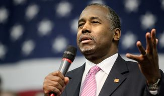 Ben Carson, the renowned neurosurgeon and electoral neophyte, said litmus tests don't work but then described the litmus test he would use by carefully evaluating the judicial records of potential nominees to ensure they wouldn't deviate from the original intent or meaning of the Constitution and laws. (Associated Press)