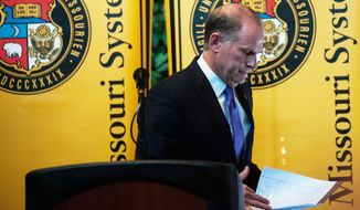 """""""Please, please, use this resignation to heal, not to hate, and let's moe on together for a brighter tomorrow,"""" University of Missouri System President Tim Wolfe said in announcing his resignation Monday, under fire for his handling of race complaints. (Columbia Daily Tribune via Associated Press)"""