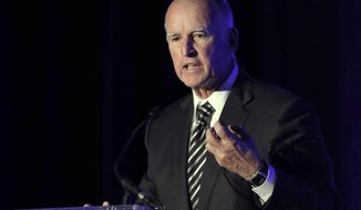 Gov. Jerry Brown addresses a crowd in Sacramento, Calif. (AP Photo/Rich Pedroncelli, File)