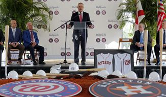Major League Baseball commissioner Rob Manfred speak during the groundbreaking ceremony for the future home of the Houston Astros and the Washington Nationals spring training facility on Monday, Nov. 9, 2015, in West Palm Beach, Fla. (AP Photo/Steve Mitchell)