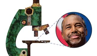 Ben Carson Under the Biased Microscope Illustration by Greg Groesch/The Washington Times
