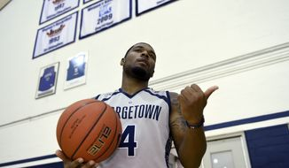 Georgetown men's basketball player D'Vauntes Smith-Rivera at McDonough Arena in Washington, Tuesday, Oct. 27, 2015. (AP Photo/Susan Walsh)