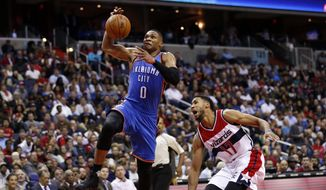Oklahoma City Thunder guard Russell Westbrook (0) goes for the dunk in front of Washington Wizards guard Garrett Temple (17) in the second half of an NBA basketball, Tuesday, Nov. 10, 2015, in Washington. The Thunder won 125-101. (AP Photo/Alex Brandon)
