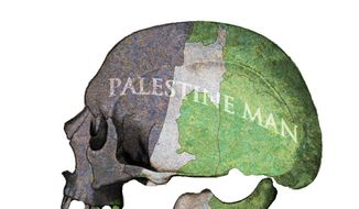 Illustration on the continuing hoax of Palestinian land claims by Alexander Hunter/The Washington Times