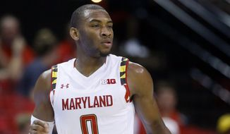 Maryland guard Rasheed Sulaimon drives the ball in the second half of an NCAA college basketball exhibition game against Southern New Hampshire, Friday, Nov. 6, 2015, in College Park, Md. (AP Photo/Patrick Semansky)