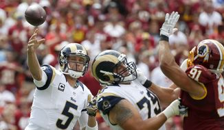 St. Louis Rams quarterback Nick Foles (5) passes over Washington Redskins outside linebacker Ryan Kerrigan (91) during the first half of an NFL football game in Landover, Md., Sunday, Sept. 20, 2015. (AP Photo/Alex Brandon)