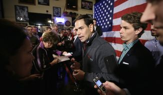 Republican presidential candidate, Sen. Marco Rubio, R-Fla., greets audience members during a meet and greet with local residents, Wednesday, Nov. 11, 2015, in Davenport, Iowa. (AP Photo/Charlie Neibergall)