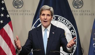 Secretary of State Kerry speaks on U.S. strategy in Syria and the Middle East before heading back to Vienna for more talks on how to resolve the crisis, Thursday, Nov. 12, 2015, at the Peace Institute in Washington. (AP Photo/J. Scott Applewhite)