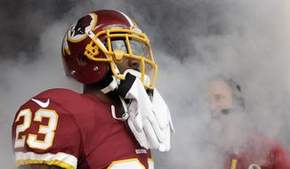Washington Redskins cornerback DeAngelo Hall (23) waits in the tunnel for his introduction before an NFL football game against the St. Louis Rams in Landover, Md., Sunday, Sept. 20, 2015. (AP Photo/Mark Tenally)