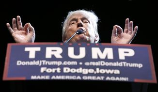 Republican presidential candidate Donald Trump speaks during a rally at Iowa Central Community College, Thursday, Nov. 12, 2015, in Fort Dodge, Iowa. (AP Photo/Charlie Neibergall)