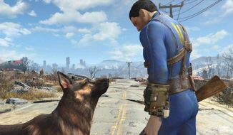 My pal Dogmeat and I journey into the Wasteland in the video game Fallout 4.