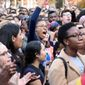 Yale University students and faculty rally in November to demand that Yale University become more inclusive to all students on Cross Campus in New Haven, Connecticut. (Associated Press/File)