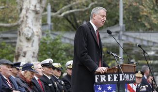 New York City Mayor Bill de Blasio speaks during a ceremony before the start of the annual Veteran's Day parade in New York, Wednesday, Nov. 11, 2015.  (AP Photo/Seth Wenig) ** FILE **