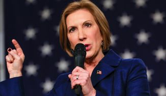 "Carly Fiorina says she sees in Donald Trump ""the pattern perhaps of an entertainer. It's certainly not the pattern of the leader."" (Associated Press/File)"