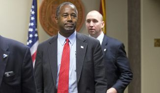 Republican presidential candidate Ben Carson files as a candidate for the Presidential Preference Election ballot with the state of Arizona in Phoenix, Saturday, Nov. 14, 2015. (Cheryl Evans/The Arizona Republic via AP)