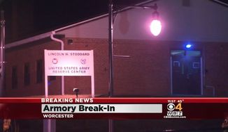 The FBI is continuing its search for weapons stolen during a break-in late Saturday night at the United States Army Reserve armory in Worcester, Massachusetts. (WBZ 4)