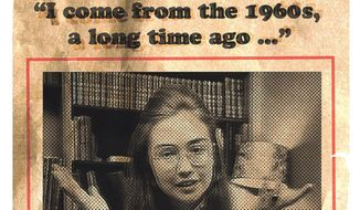 Illustration on Hillary Clinton's 1960s roots by Alexander Hunter/The Washington Times