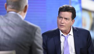 "Former ""Two and a Half Men"" star Charlie Sheen, right, is interviewed by Matt Lauer, Tuesday, Nov. 17, 2015 on NBC's ""Today"" in New York. In the interview, the 50-year-old Sheen said he tested positive four years ago for the virus that causes AIDS. (Peter Kramer/NBC via AP)"