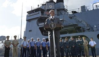 U.S. President Barack Obama speaks to reporters after touring the BRP Gregorio del Pilar in Manila, Philippines, Tuesday, Nov. 17, 2015. (AP Photo/Susan Walsh)