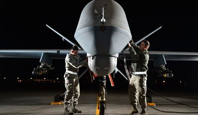 """The U.S. Air Force proposed the MQ-9 Reaper system in response to the Department of Defense directive to support initiatives of overseas contingency operations. It is larger and more powerful than the MQ-1 Predator, and is designed to execute time-sensitive targets with persistence and precision, and destroy or disable those targets. The """"M"""" is the DOD designation for multi-role, and """"Q"""" means remotely piloted aircraft system. The """"9"""" indicates it is the ninth in the series of remotely piloted aircraft systems."""