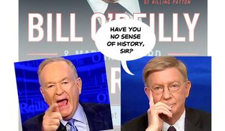 Illustration on the Bill O'Reilly/George Will contratemps by Alexander Hunter/The Washington Times