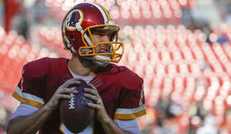 Washington Redskins quarterback Kirk Cousins (8) warms up before an NFL football game against the New Orleans Saints in Landover, Md., Sunday, Nov. 15, 2015. (AP Photo/Evan Vucci)