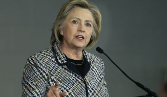 Democratic presidential candidate Hillary Rodham Clinton speaks at a campaign event at Mountain View Community College, Tuesday, Nov. 17, 2015, in Dallas. (AP Photo/LM Otero)