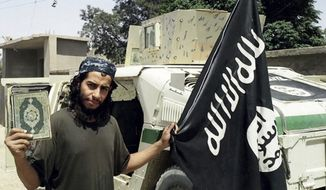This undated image made available in the Islamic State's English-language magazine Dabiq, shows Belgian Abdelhamid Abaaoud. (Militant photo via AP)
