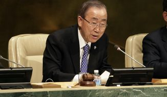 U.N. Secretary General Ban Ki-moon addresses the U.N. Special Thematic Session on Water and Disasters, in the United Nations General Assembly, Wednesday, Nov. 18, 2015. (AP Photo/Richard Drew)