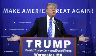 Republican presidential candidate, businessman Donald Trump speaks during a news conference before a campaign rally, Wednesday, Nov. 18, 2015, in Worcester, Mass. (AP Photo/Steven Senne) ** FILE **