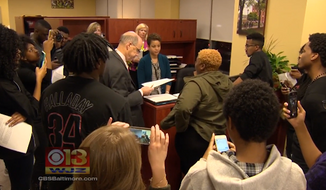 The interim president at Towson University in Maryland, Timothy Chandler, has reportedly signed a list of demands from a group of two dozen black students who occupied his office for eight hours on Wednesday. (WJZ)