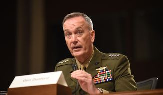 In this Oct. 27, 2015 photo, Joint Chiefs Chairman Gen. Joseph Dunford, Jr. testifies on Capitol Hill in Washington. In measuring progress in the American-led air war against the Islamic State in Syria and Iraq, numbers tell one story, but results tell another. Fighter jets, bombers, attack planes and drones are dropping an average of 2,228 bombs per month on targets ranging from militant snipers and machine gun positions to oil facilities, weapon storage shacks, bulldozers and buildings. The attacks have killed upward of 20,000 Islamic State fighters.  (AP Photo/Kevin Wolf, File)