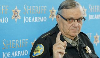 FILE - In this Dec. 18, 2013, file photo, Maricopa County Sheriff Joe Arpaio speaks at a news conference at the Sheriff's headquarters in Phoenix. A judge presiding over the sheriff's racial profiling case will hear closing arguments Friday, Nov. 20, 2015, over whether the lawman should be held in contempt of court for defying court orders. (AP Photo/Ross D. Franklin, File)