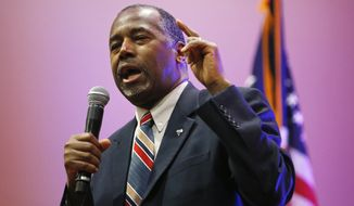 Republican presidential candidate, Dr. Ben Carson speaks at a rally, Monday, Nov. 23, 2015, in Pahrump, Nev. Carson attended a briefing on Yucca Mountain and federal lands at the Nye County commissioner's office in Pahrump before holding the rally. (AP Photo/John Locher)